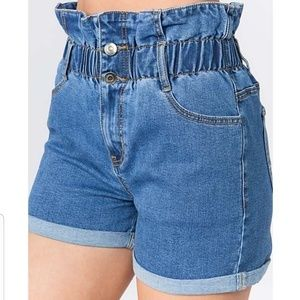 🍸American Bazi High Waist Paper Bag Denim Shorts